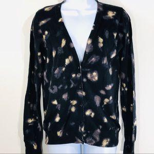 Gap Black & Brown V-neck Cardigan Sweater Size Med